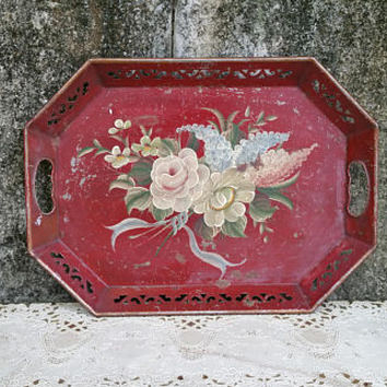 Vintage Hand Painted Red Toleware Tray with Reticulated Edge