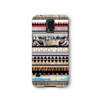Samsung Galaxy S5 Case, Tiger Aztec Geometric on Wood Pattern 3d-sublimated, Mobile Accessories.