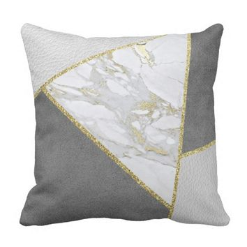 Grey Polygons Leather Suede Marble Gold Glitter Throw Pillow