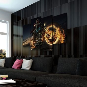 Motorcycle On Fire Canvas Set