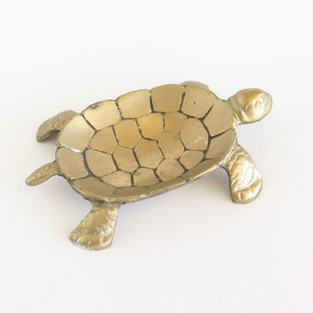 Brass Turtle Soap Jewelry Trinket Tray