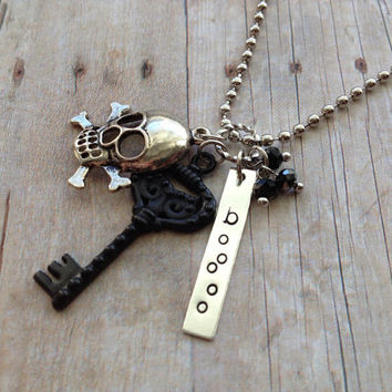 Silver Halloween Necklace, Key Skull Stamped Boo