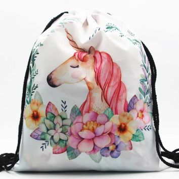 M390 2017 3D Digital Print Cartoon Unicorn Bag Drawstring Backpack Monolayer Thin Section Rope Rope Strap Opening Small Size