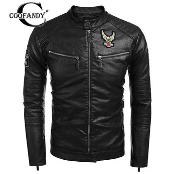 COOFANDY 2017 Newest Male Clothes Fashion Stand Collar Long Sleeve PU Faux-Leather Moto Biker Jacket