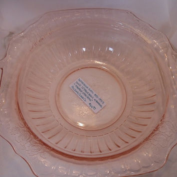 "Depression Glass ""Mayfair Open Rose"" Pink Handled Bowl 1930's"