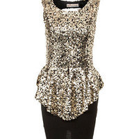 Parisian Gold Sequin Peplum Dress