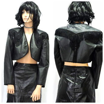 Vintage 80s cropped fringed leather jacket S / M boho rocker black crop fringe leather jacket bolero leather cropped jacket SunnyBohoVintage