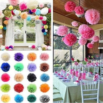 5PCS Tissue Paper Pompom Pom Poms Hanging Wedding Party Decorations --3 Sizes Beautiful Decor Flowers