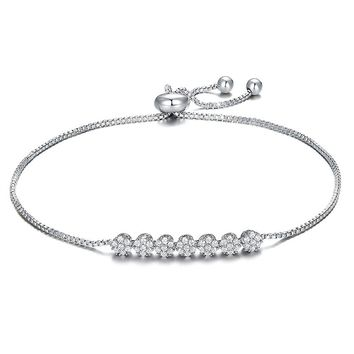 YINLI Charm 925 Sterling Silver Bezel Set AAA CZ Diamond Adjustable Slider Chain Bracelet for Women Girls