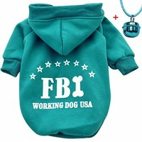 Moolecole Pet Dog Cat Sweater Puppy T Shirt Warm Hooded Coat Clothes Apparel with Colorful Pet Bell