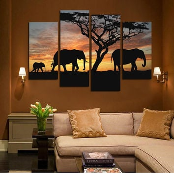 4 Ppcs Sunset Elephant Painting Canvas Wall Art Picture Home Decoration Living Room Canvas Print Modern Painting--Large Canvas