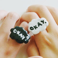 "SET of ""Okay? Okay."" Rings The Fault In Our Stars by John Green"