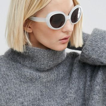 Cheap Monday Kurt Cat Eye Sunglasses in White at asos.com