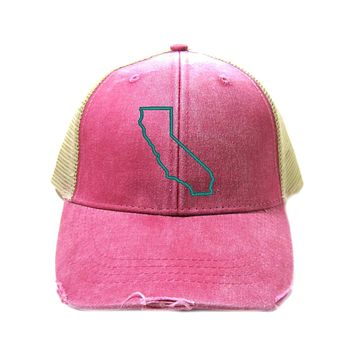 California Hat - Distressed Snapback Trucker Hat - California State Outline - Many Colors Available