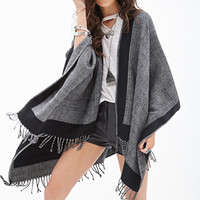 FOREVER 21 Chevron Knit Poncho Black/Grey One
