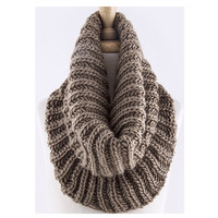 Must Have Cable Knit Chunky Mocha Tube Infinity Scarf