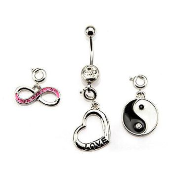 14g 7/16 WildKlass Navel with Gem Infinity, Heart and Yin Yan interchangeable spring rings Dangle Charms