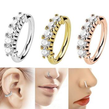 ac PEAPO2Q LNRRABC Shine Earring Crystal Nose Ring Novelty Tragus Stainless Steel  1pc New Helix Body Jewelry Fashion Ear Hoop Cartilage
