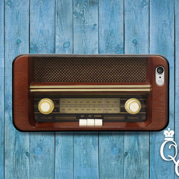 iPhone 4 4s 5 5s 5c 6 6s plus + iPod Touch 4th 5th 6th Gen Cute Brown Wood Retro Old School Radio Cool Phone Case Fun Funny Custom Cover
