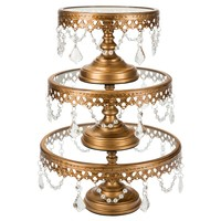 3-Piece Glass Top Crystal Cake Stand Set (Gold)
