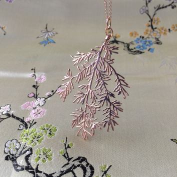 hemlock rose gold branch necklace, 3D printed delicate branch detail, tree jewelry