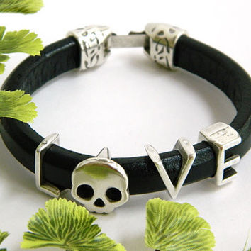 Black Leather Bangle Bracelet Handcrafted Silver Love Skull Slide