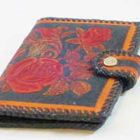 Vintage Hand Tooled Leather Wallet ROSE BRANCHES