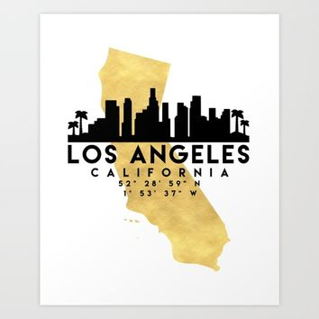 LOS ANGELES CALIFORNIA SILHOUETTE SKYLINE MAP ART Art Print by deificus Art