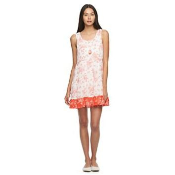 Juniors' Lily Rose Floral Babydoll Dress & Necklace