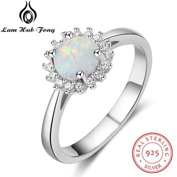 Flower Round White Fire Opal Rings for Women Real 925 Sterling Silver Wedding Engagement Ring Zircon Jewelry (Lam Hub Fong)