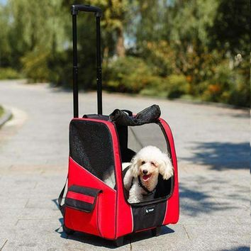 Large Dog Pet Trolley Carrier Stroller Travel Backpack Push Wheel Air travel Cage