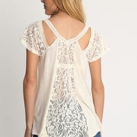 Wilhelmina Lace Detail Cold Shoulder Blouse | Ruche