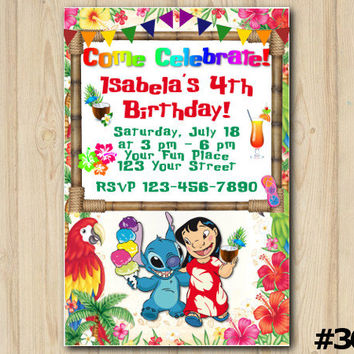 LILO and STITCH INVITATION Luau, Lilo and Stitch birthday, Summer party, custom printable file (#348)
