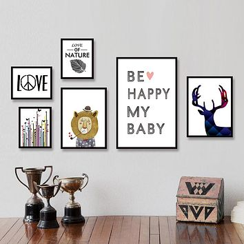 "No Frame- ""Be Happy My Baby"" Art for Kids"