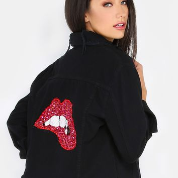 Sequins Lips Back Distressed Denim Jacket BLACK