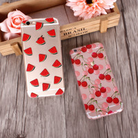 Watermelon and cherry mobile phone case for iphone 5 5s SE 6 6s 6 plus 6s plus + Nice gift box 072701