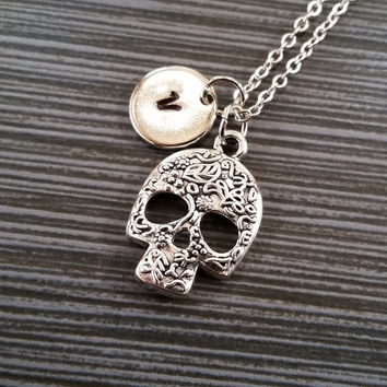 Silver Skull Necklace - Pewter Charm Necklace - Personalized Necklace - Custom Initial Necklace - Day of the Dead Jewelry - Floral Skull