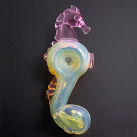 Sculpted Pink Glass Seahorse Pipe - Heady Color Changing Spoon Bowl for Smoking Unique Animal Piece with Pink Glass Water Creature Accents