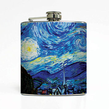 Starry Night Van Gogh 6 Oz Liquor Stainless Steel Hip Flask Weddings Groomsmen Bridesmaids Gift Whiskey Flask
