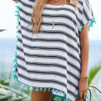 Striped Tassel Short Sleeve Cover-Up