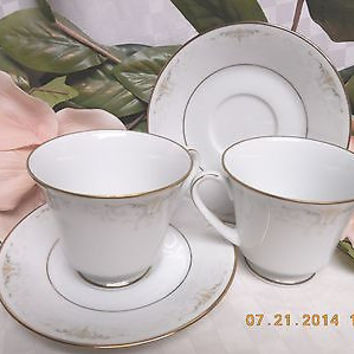 Noritake white China Dinnerware Japan Glendola   #: 2220 set 2 cup & saucer