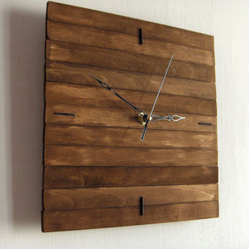 Wooden square wall hanging clock wood walnut old silent by Paladim