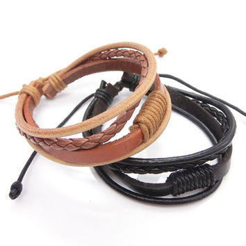 couple bracelet 2 color real leather bracelet women Leather Bracelet Men leather bracelet, boyfriend gift  C037