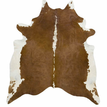 Brown and White Brazilian Cowhide Rug