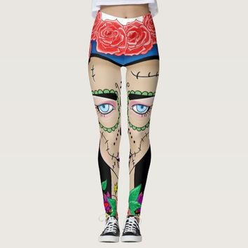 Halloween Zombie girl with a crown of roses Leggings