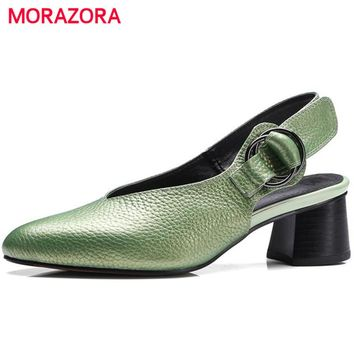 MORAZORA 2017 Women pumps genuine leather single shoes buckle shallow high heels shoes solid big size 34-43 elegant party