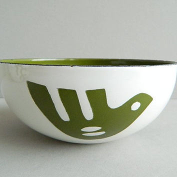 Hanova of Pasadena Small Green Enamel Dove Bird Bowl