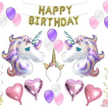 Unicorn Party Supplies Birthday Decorations - Unicorn Headband, Happy Birthday Gold Balloons, Multi Pack Purple and Pink Balloon for Girls by PartyFuFu