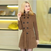 Women : Winter Double Breasted Wool Coat YRB0567
