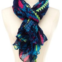 Lightweight Tribal Print Scarf by Charlotte Russe - Blue Combo